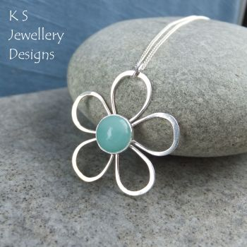 Amazonite Daisy - Sterling Silver Wire Flower Pendant