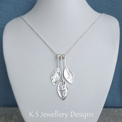 Dappled Petal Trio Sterling Silver Necklace (V2)