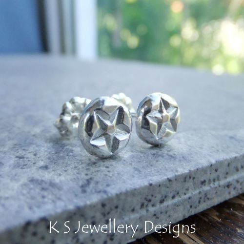 Star Textured Pebbles Studs #5 - Sterling Silver Stud Earrings