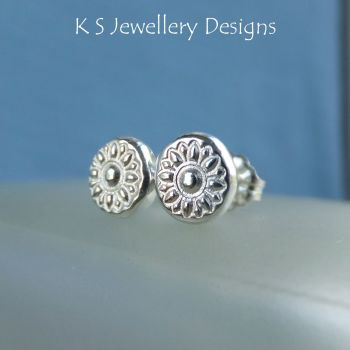 Flower Textured Pebbles Stud Earrings #4 - Sterling Silver Studs