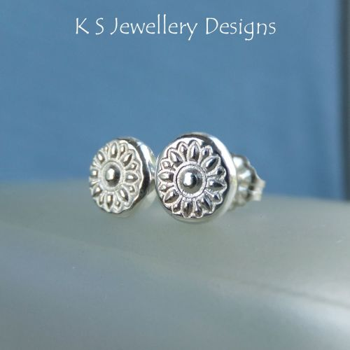 Flower Textured Pebbles Studs #4 - Sterling Silver Stud Earrings