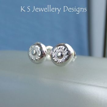 Flower Textured Pebbles Studs #3 - Sterling Silver Stud Earrings