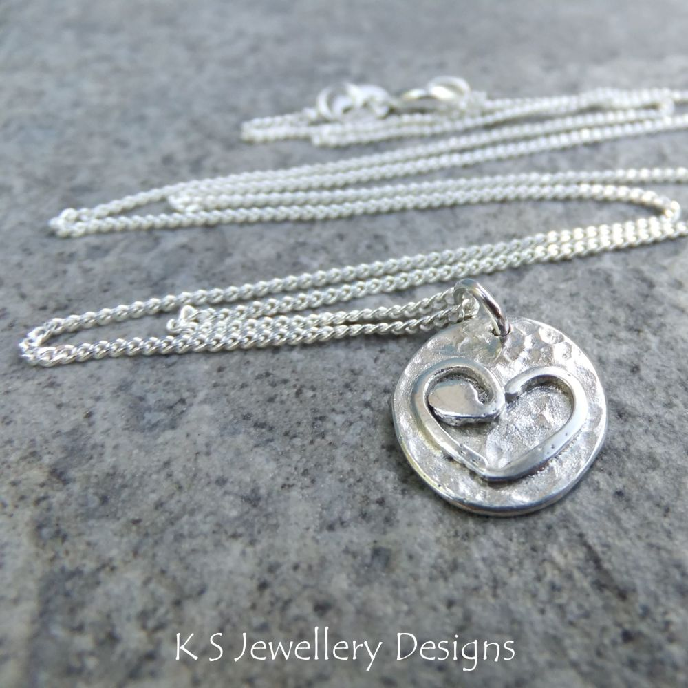 Rustic Heart Disc Sterling Silver Pendant