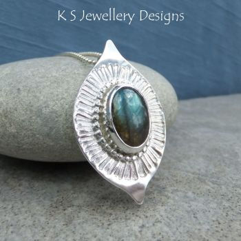 Labradorite Stripe Textured Sterling Silver Drop Pendant