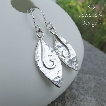 Dappled Petals Drop Earrings - PETAL DROPS V2- Sterling Silver Dangly Earrings