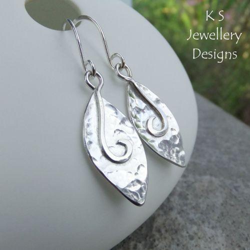 Dappled Petals Drop Earrings - PETAL DROPS V2- Sterling Silver Dangly Earri
