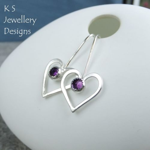 Amethyst Long Wire Heart Sterling Silver Earrings