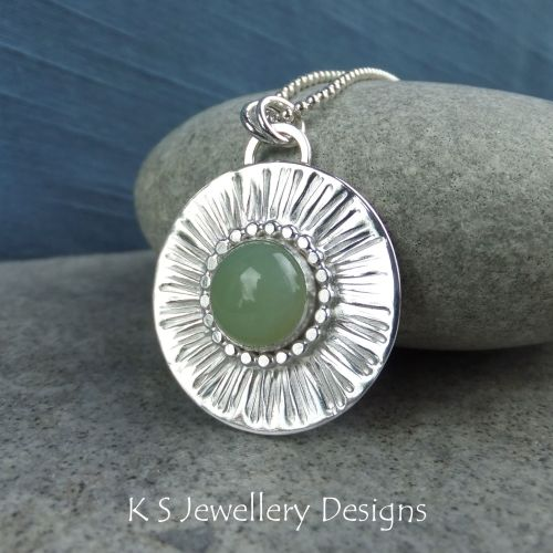 Amazonite Stripe Textured Sterling Silver Circle Pendant