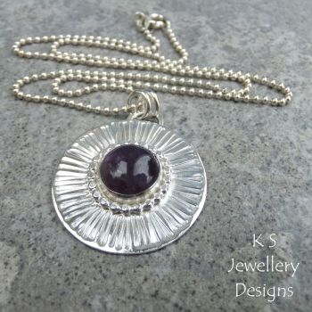 Amethyst Stripe Textured Sterling Silver Circle Pendant
