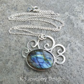 *SALE was £68* Labradorite Waves Sterling Silver Pendant