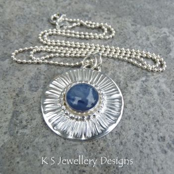 Kyanite Stripe Textured Sterling Silver Circle Pendant