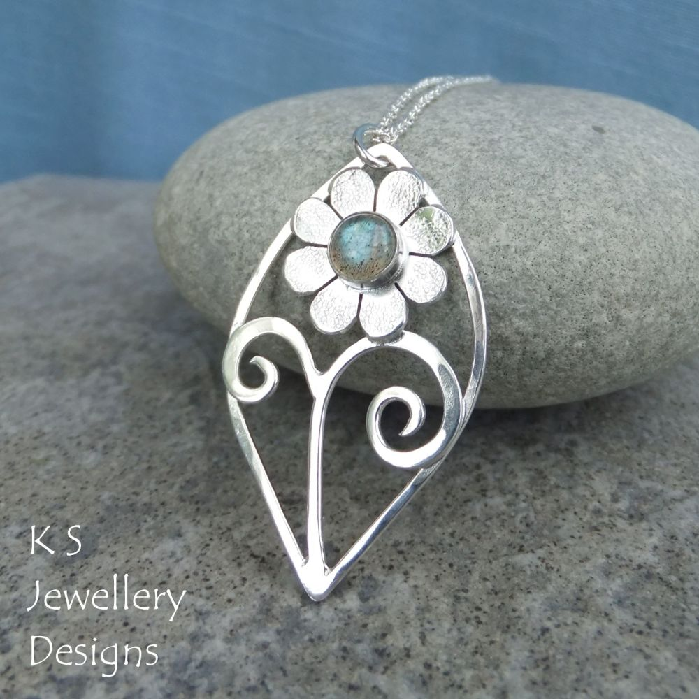Labradorite Flower and Swirls Sterling Silver Leaf Pendant