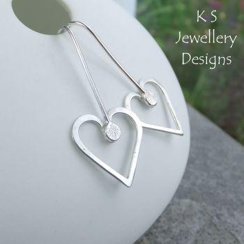 Long Wire Heart Sterling Silver Earrings