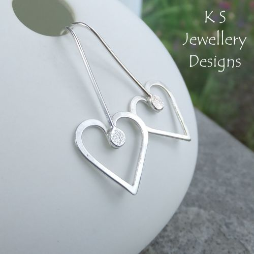Long Wire Heart Sterling Silver Earrings