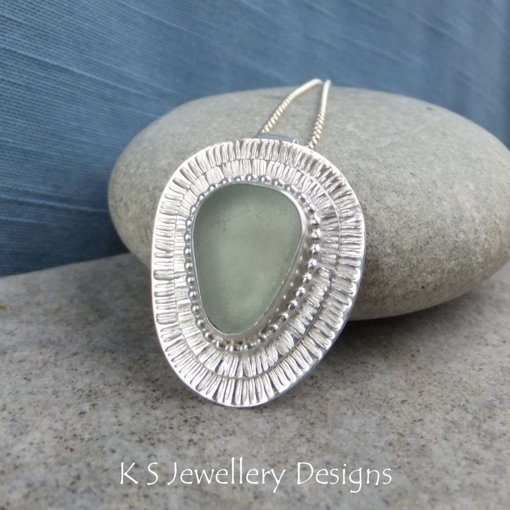 Aqua Sea Glass Double Stripes Texture Sterling & Fine Silver Pendant