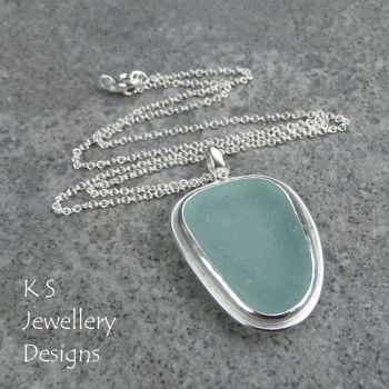 Aqua Blue Sea Glass Sterling Silver Pendant
