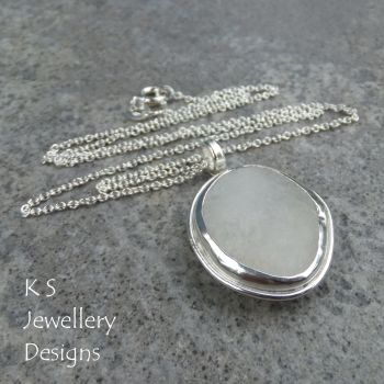 White Pebble Sterling Silver Pendant