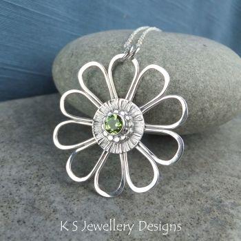 Peridot Daisy - Sterling Silver Flower Pendant
