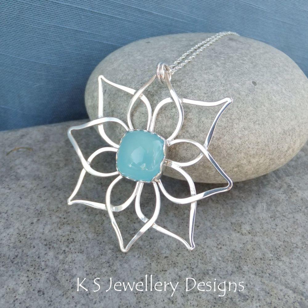 Blue Chalcedony Double Petal Flower Sterling Silver Pendant