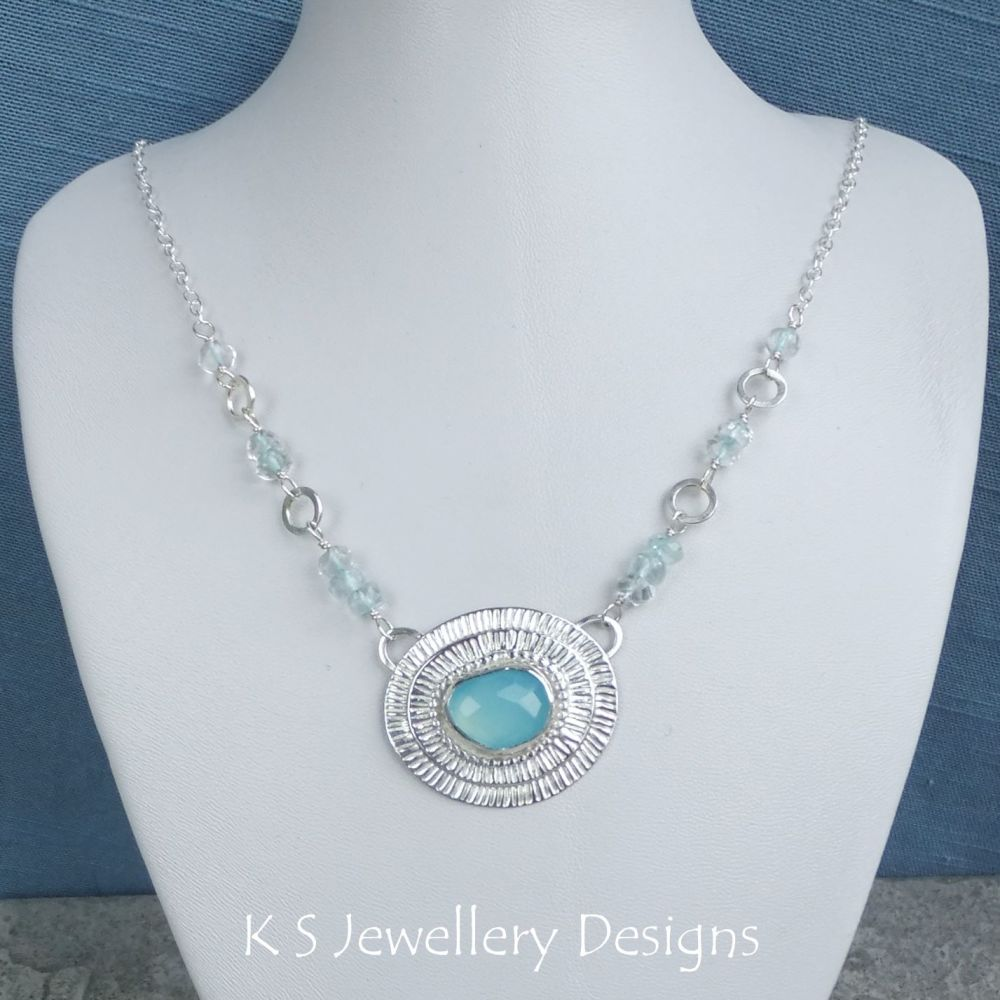Blue Chalcedony Stripe Texture & Blue Topaz Sterling Silver Necklace