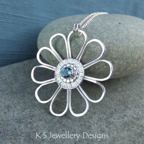 Aqua Topaz Daisy - Sterling Silver Flower Pendant