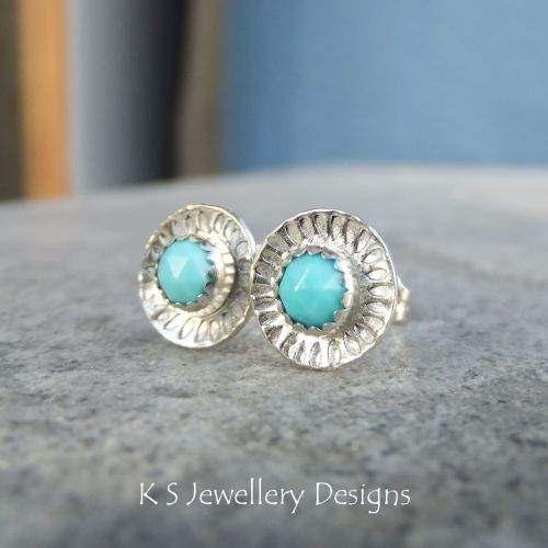 Turquoise Daisy Flower Cup Sterling Silver Stud Earrings