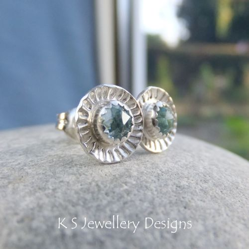 Sky Blue Topaz Daisy Flower Cup Sterling Silver Stud Earrings