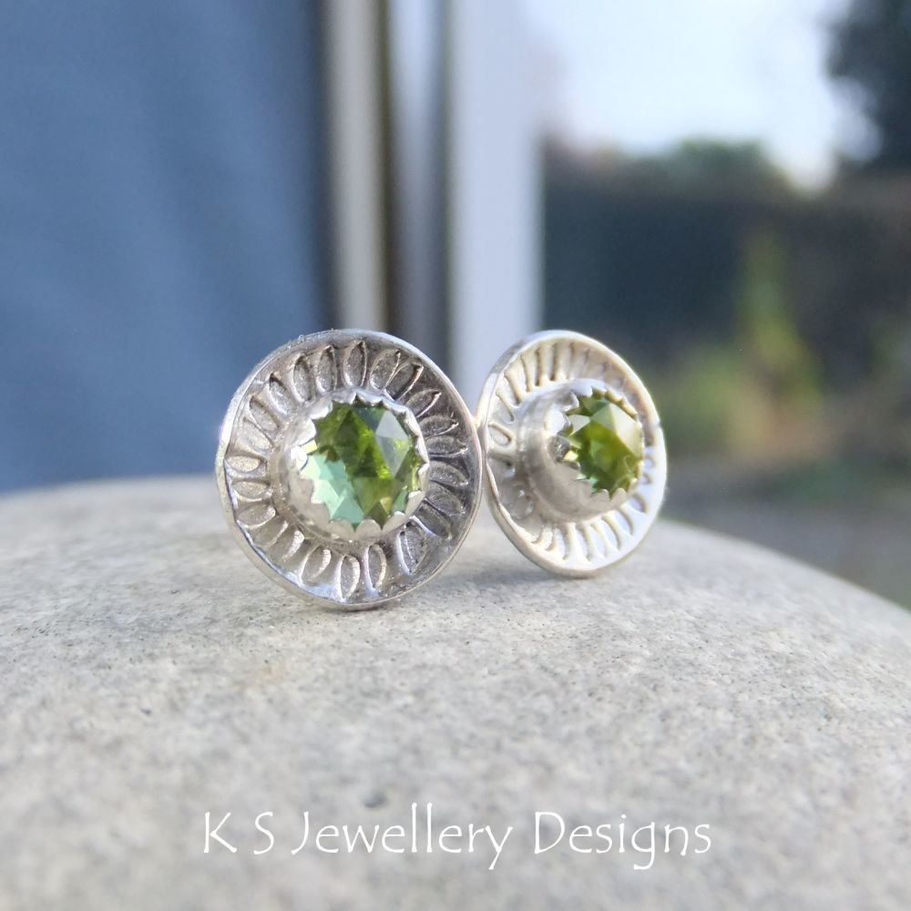 Peridot Daisy Flower Cup Sterling Silver Stud Earrings