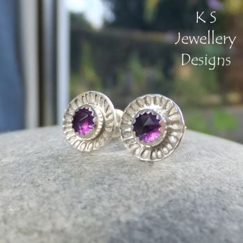Amethyst Daisy Flower Cup Sterling Silver Stud Earrings