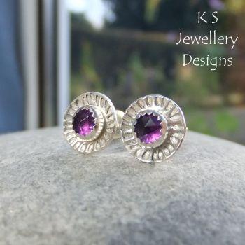 Amethyst Daisy Flower Cup Sterling Silver Stud Earrings