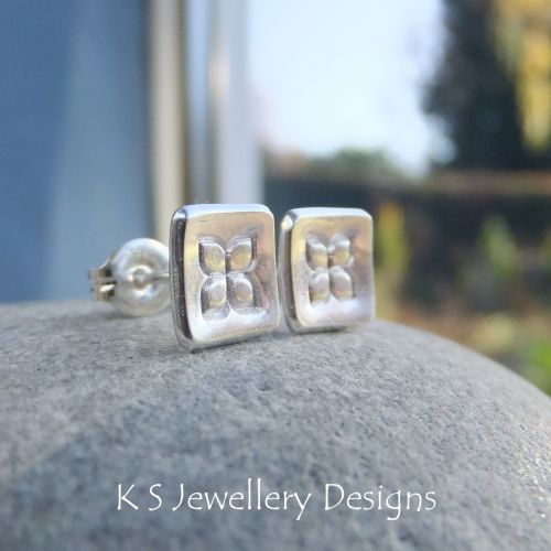 Sterling Silver Stud Earrings - Textured Flower Squares #2