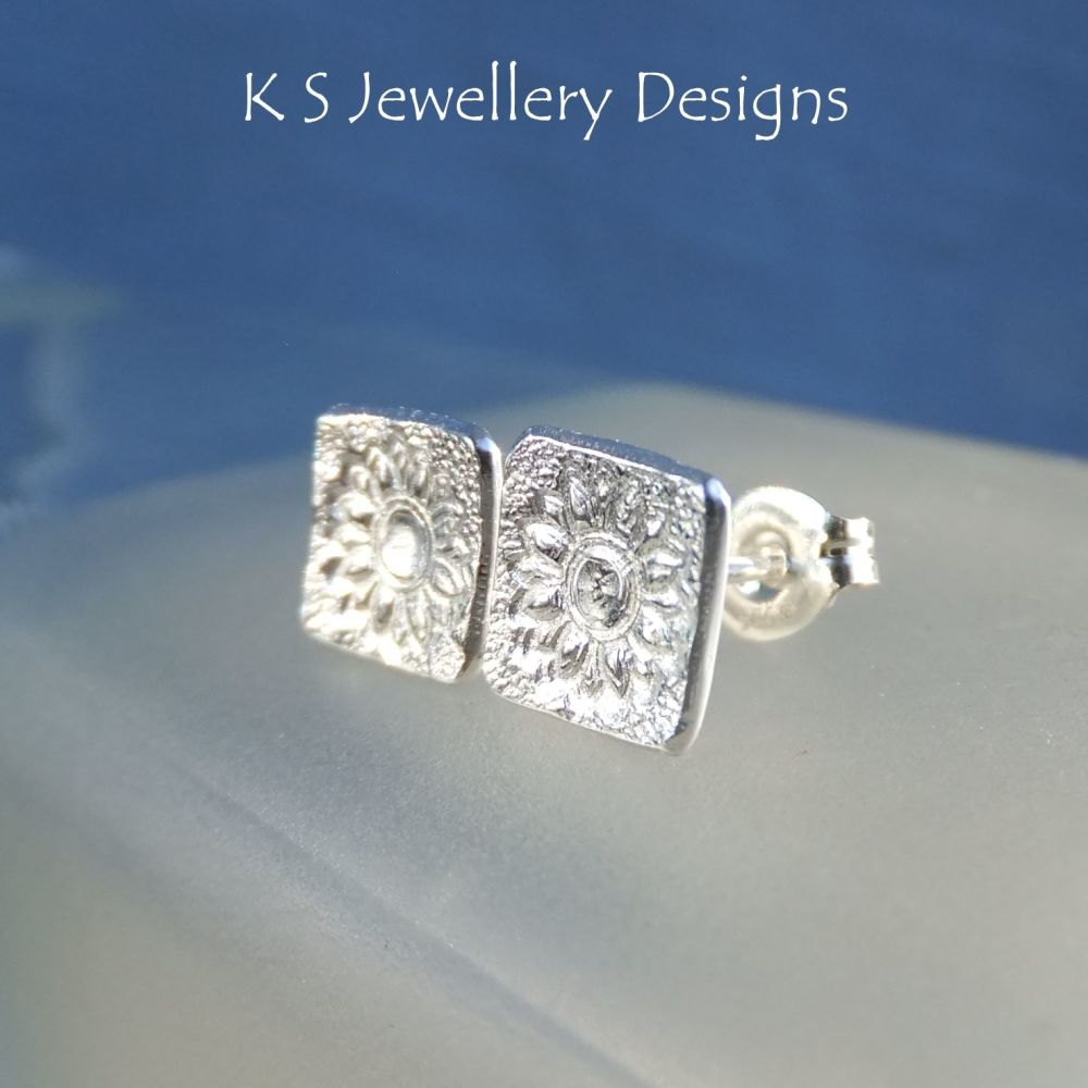 Sterling Silver Stud Earrings - Textured Flower Squares #5