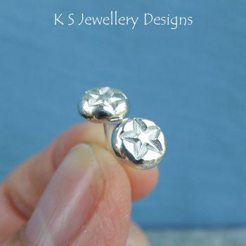 Star Textured Pebbles Studs - Sterling Silver Stud Earrings