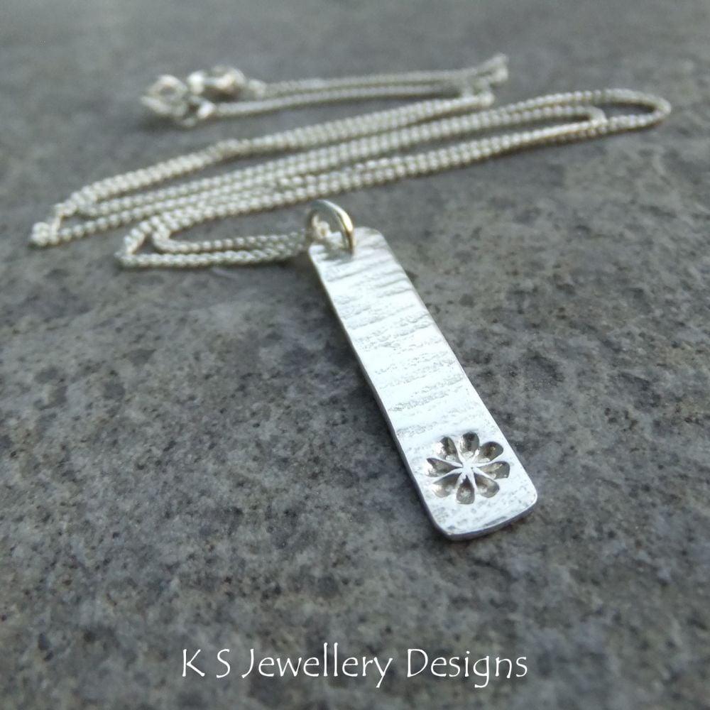 Flower & Bark Textured Sterling Silver Bar Pendant