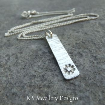 Flower & Bark Textured Sterling Silver Bar Pendant