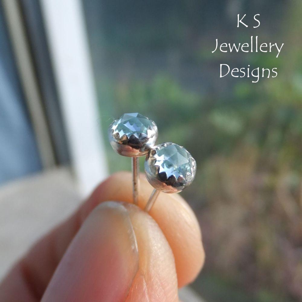 COMMISSION - Sky Blue Topaz Sterling Silver Stud Earrings
