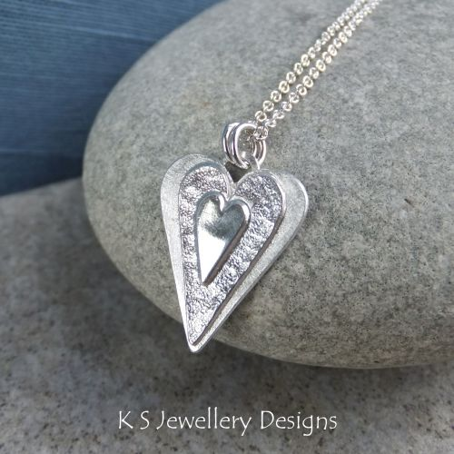 Layered Hearts Sterling Silver Pendant