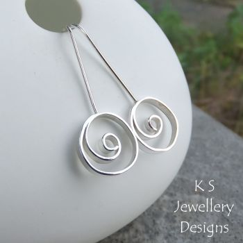 Wonky Spiral Circle Sterling Silver Earrings
