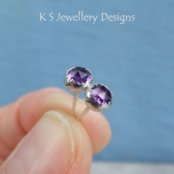 Amethyst Sterling Silver Stud Earrings