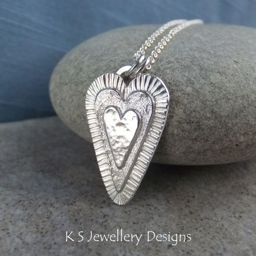 Layered Hearts (version 3) Sterling Silver Pendant