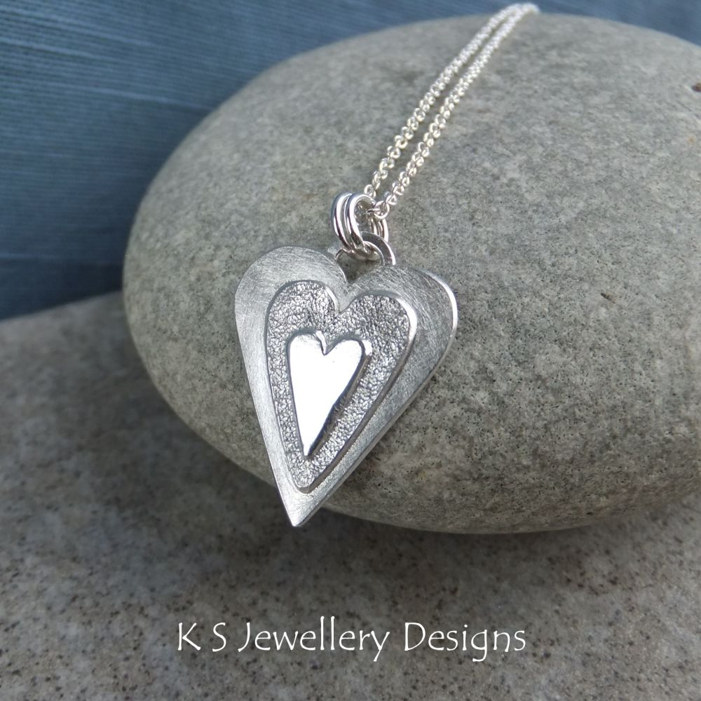 Layered Hearts (version 2) Sterling Silver Pendant