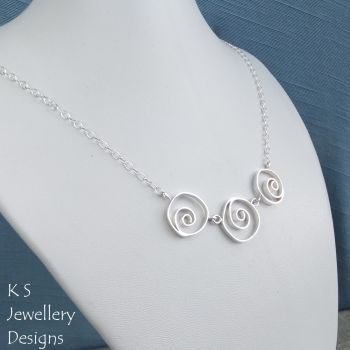 Wonky Spiral Circles Trio Sterling Silver Necklace
