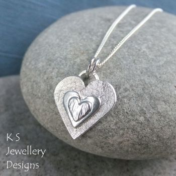 Layered Hearts (version 4) Sterling Silver Pendant