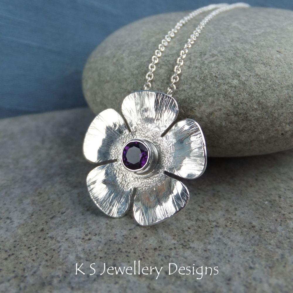 Amethyst Textured Flower Sterling Silver Pendant - Five Petals