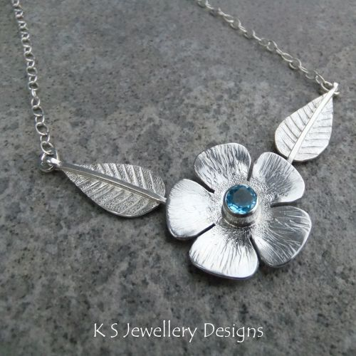Blue Topaz Flower and Leaves Sterling Silver Necklace