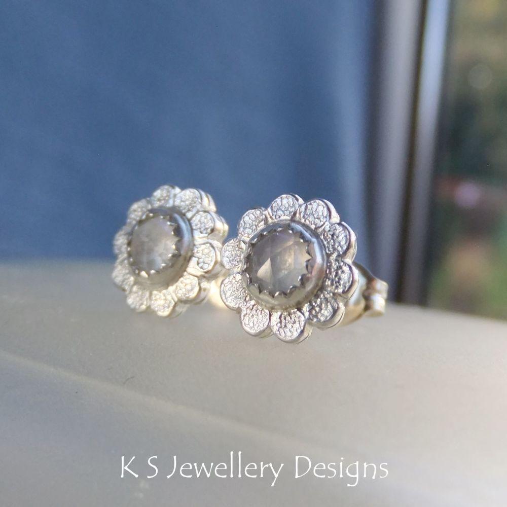 Rainbow Moonstone Textured Daisy Flowers - Sterling Silver Stud Earrings