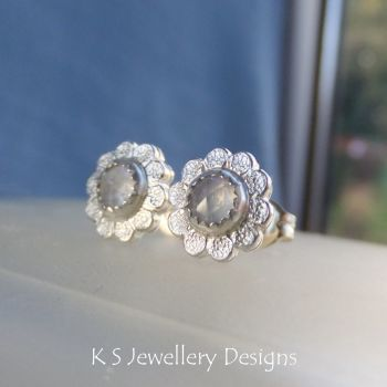 Rainbow Moonstone Textured Daisy Flowers - Sterling Silver Stud Earrings