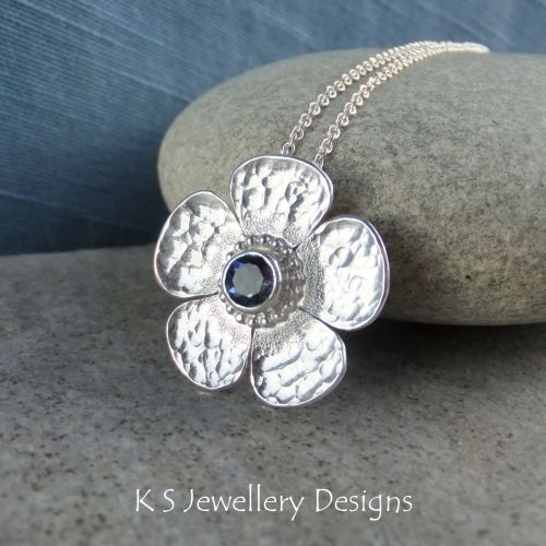 Marine Blue Quartz Dappled Flower Sterling Silver Pendant - Five Petals