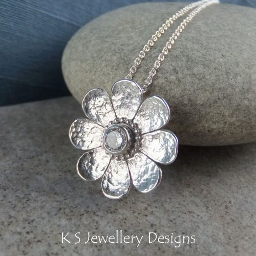 Cubic Zirconia Dappled Flower Sterling Silver Pendant - CZ Daisy