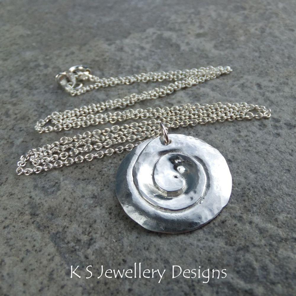 Dappled Spiral Circle Fine Silver Pendant